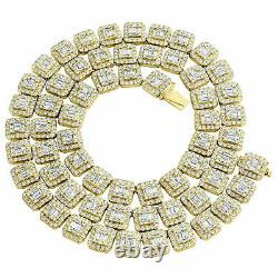 14K Yellow Gold Over 9.30 mm Raised Square Baguette Diamond Chain 24 Necklace