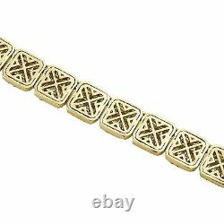 14K Yellow Gold Over 9.30 mm Raised Square Baguette Diamond Chain 28 Necklace