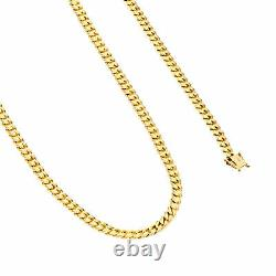14K Yellow Gold Solid 5mm Miami Cuban Link Chain Pendant Necklace Box Clasp 24