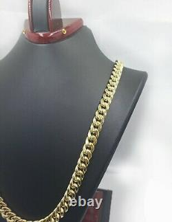 14k 10mm Mens Miami Cuban Link Necklace 22 Chain REAL 14KT Yellow Gold Box lock