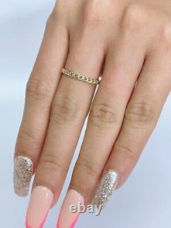 14k Gold Fancy Yellow Gold Micro Cuban Link Authentic Ring Size 6, 7 or 8