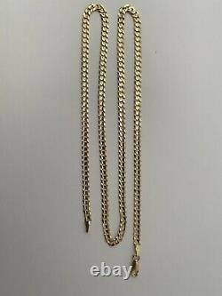 14k Gold Solid Comfort Concave Cuban Curb Link Chain Necklace 22-4 mm-12.3 Gr