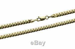 14k Solid Yellow Gold 4mm Men Women Miami Cuban Link Chain Necklace Size 20-30