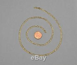 14k Solid Yellow Gold Cuban Curb Link Chain Necklace 20 Inches 5.7 Gr 3.3 mm
