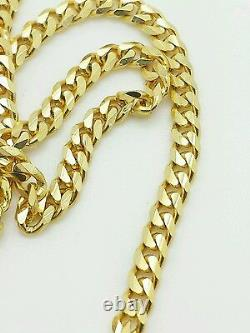 14k Solid Yellow Gold Gourmette Miami Cuban Necklace Pendant Chain 3.0mm 18-30