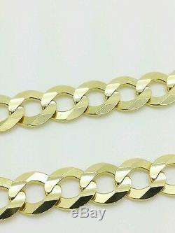 14k Solid Yellow Gold High Polish Cuban Curb Link Chain Bracelet 8.5 7mm