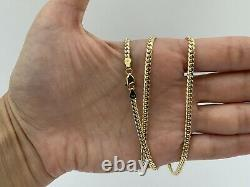 14k Solid Yellow Gold Miami Cuban Curb Link Chain 22-3.5 mm-18.4Gr-AG14C675Y