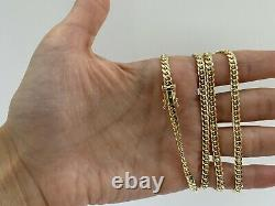 14k Solid Yellow Gold Real 4 mm Miami Cuban Link Chain Necklace-AG14C674Y