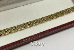 14k Yellow Gold Chain Link Custom Anchor Figaro Cuban Miami Mens Bracelet 7.25