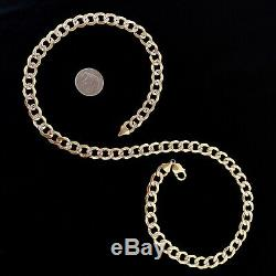 14k Yellow Gold Cuban Pave Semi Hollow Chain Diamond Cut 11mm Curb 28'' Necklace