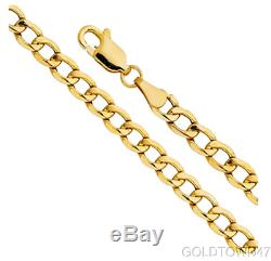 14k Yellow Gold Semi-solid Curb Chain Men 6.2 mm Wide Necklace