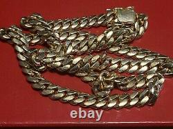 14k Yellow Gold solid 12mm Miami Cuban Link Chain Necklace Sz 26(REAL) 172 GRAM