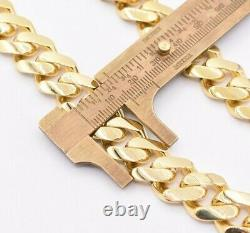 15mm Miami Cuban Link Monaco Chain Necklace Baguette Lock Real 10K Yellow Gold
