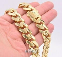 17mm Mens Miami Cuban Royal Link Chain Necklace Box Clasp Real 10K Yellow Gold