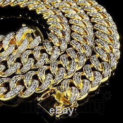 18K Gold Lab Diamond Cuban Chain Link Micro Pave Miami NB Iced Out Men Necklace