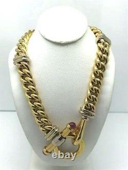 18K YELLOW GOLD LADIES CUBAN LINK NECKLACE With WHITE GOLD & TOGGLE/LOBSTER CLAW