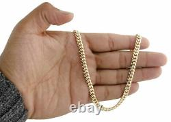 18K Yellow Gold 6mm Mens Solid Miami Cuban Link Chain 22 Necklace Lobster Clasp