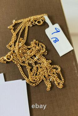 18k Solid Yellow Gold Flat Cuban Link Chain 18 Inches 4.85 Grams(439$)