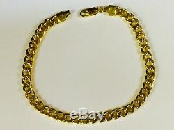 18k Solid Yellow Gold Miami Cuban Curb Link Men's Bracelet 7.5 5 mm 15 grams