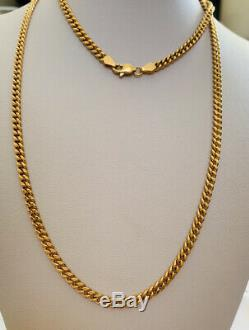 18k Solid Yellow Gold Miami Cuban Link Chain Necklace 26Inches 14.17GM1299$
