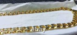 18k Yellow Gold Finish Curb Cuban Link Chain Solid Necklace 24 9mm 78-80 gram