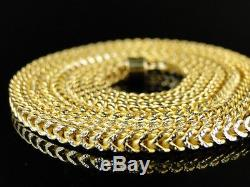 1/20Th 10K Yellow Gold Franco Box Cuban Chain Necklace Mens 30 Inch 3 Mm