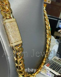 20mm x 22 Miami Cuban Link Necklace NATURAL MOISSANITE Yellow Gold over Silver