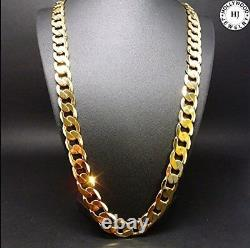 22 Inch 14K Gold Chain Cuban Necklace Men 9Mm Link With Real Solid Clasp 24K