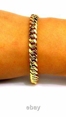 22k Yellow Solid Gold Men Cuban Curb Link Bracelet 8.5 Inches Handmade Jewelry