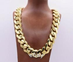 24mm Miami Cuban Royal Link Chain Necklace Shiny Box Clasp Real 10K Yellow Gold