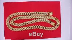25 Carats White Diamond Miami Cuban Link 11 MM Chain Necklace in 10K YG ASAAR