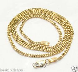 2mm Solid Miami Cuban Curb Link Chain Necklace Real 10K Yellow Gold 16 thru 24