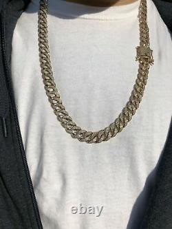 40Ct Lab Created Diamonds Men's 10mm Miami Cuban Link Chain 14k Yellow Gold Over