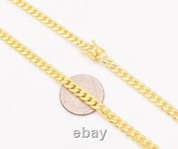 4mm Miami Cuban Chain Necklace Solid 14K Yellow Gold Clad Silver 925 Italy