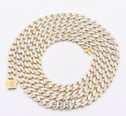 6mm Miami Cuban Royal Link Chain Necklace Diamond Cut Real 10K Yellow White Gold