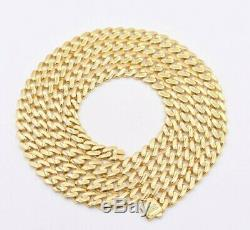 6mm Miami Cuban Royal Link Chain Necklace Shiny Box Clasp Real 10K Yellow Gold
