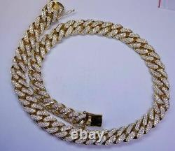7CT Round Cut White Diamond Miami Cuban Link Chain Necklace 14K Yellow Gold Over