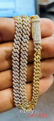 7.00Ct DIAMOND GOLD NECKLACE MENS 6MM CUBAN LINK CHAIN HH1003