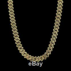 8.00 Ct Round Cut Diamond Prong Set Cuban Chain 18 14k Yellow Gold Over