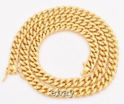 8.5mm Miami Cuban Link Chain Necklace Double Lock Real 10K Yellow Gold 24