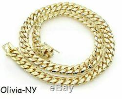 925 Sterling Silver Solid Miami Cuban Curb Chain Necklace Yellow Gold 6mm 28'