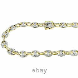 9.48 CT Puff Link Diamond Chain 24 Men's Necklace 10K Yellow Gold Over