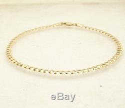 9 Pave Cuban Curb Chain Ankle Bracelet Anklet Real Solid 10K Yellow White Gold