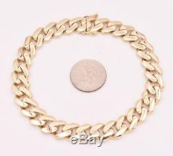 9mm Mens Miami Cuban Royal Link Bracelet Box Clasp Real 10K Yellow Gold 8 9.3gr