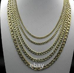 BRAND NEW 10K Yellow Gold 2MM-6MM Cuban Curb Link Chain Pendant Necklace 7- 30
