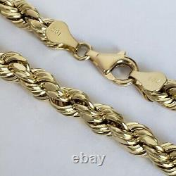 Big real 10k yellow gold 7 mm diamond cut rope chain 24 inches long