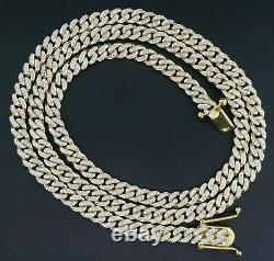 Diamond Miami Cuban Chain 3 Ct 10K Yellow Gold Over 6.25mm 26 Necklace