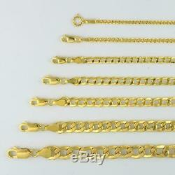 Genuine 10K Real Yellow Gold 2.5mm-11mm Cuban Curb Link Chain Bracelet 7 8 9