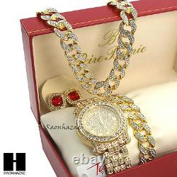 Iced Techno Pave Watch 30 Cuban Stone Chain Bracelet Ruby Earring Combo Set