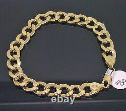 Men's 10K Yellow Gold Cuban Link Bracelet 9 Inches Long, Rope, Franco, Real 10kt